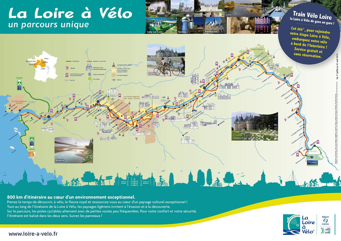carte loire à vélo Terres de Loire   À LA UNE : LA LOIRE À VÉLO : 800 km de Loire à
